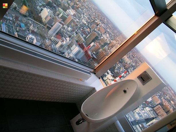 展望台内の男子トイレ(開放的で気持ちいい〜)